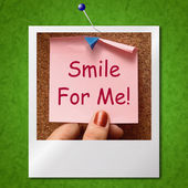 Smile For Me Photo Means Be Happy Cheerful — Stock Photo