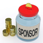Sponsor Jar Means Donating Helping Or Aid — Stock Photo