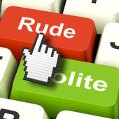 Rude Impolite Computer Means Insolence Bad Manners — Stock Photo