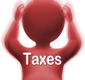 Taxes Man Means Paying Income  Business Or Property Tax — Stock Photo