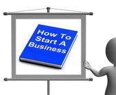 How To Start A Business Book Sign Shows Begin Company Partnershi — Stock Photo