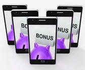 Bonus Piggy Bank Shows Incentive Extra Or Premium — Stock Photo