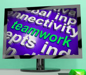 Teamwork Word Cloud Shows Combined Effort And Cooperation — Foto de Stock