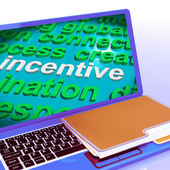 Incentive Word Cloud Laptop Shows Bonus Inducement Reward — Stock Photo
