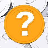 Question Mark Coin Means Wondering About Money — Stock Photo
