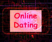Online Dating  On Screen Shows Romancing And Web Love — Stock Photo