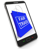 Fairtrade Shopping Bag Shows Fair Trade Product Or Products — Stock Photo