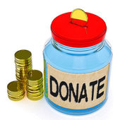 Donate Jar Means Fundraiser Charity Or Giving — Stock Photo