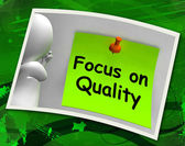 Focus On Quality Photo Shows Excellence And Satisfaction Guarant — Foto de Stock