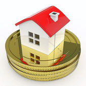House On Money Means Purchasing And Selling Property — Stock Photo