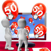 Number 50 Balloons from Monitor Show Internet Invitation or Cele — Stock Photo