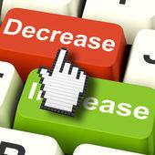 Decrease Reducing Keys Shows Decreasing Or Down Online — Stock Photo
