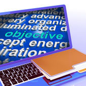 Objective  In Word Cloud Laptop Shows Aims Goals Or Aspirations — Stock Photo