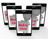 Back To School Phone Shows Beginning Of Term — Stock Photo