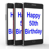 Happy 50th Birthday Smartphone Means Turning Fifty — Stock Photo