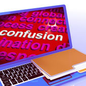 Confusion Word Cloud Laptop Means Confusing Confused Dilemma — Stock Photo