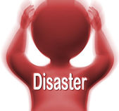 Disaster Man Means Crisis Calamity Or Catastrophe — Stock Photo