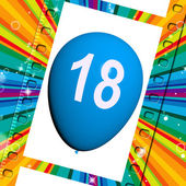 Balloon Represents Eighteenth Happy Birthday Celebrations — Zdjęcie stockowe