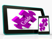 Guide Smartphone Shows Online Instructions And Assistance — Stock Photo