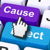 Cause Effect Computer Means Consequence Action Or Reaction — Stock Photo