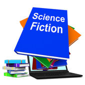Science Fiction Book Stack Online Shows SciFi Books — Foto Stock