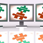 Novice Expert Puzzle Screen Shows Unskilled And Professional — Stock Photo