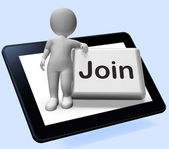 Join Button Tablet Shows Subscribing Membership Or Registration — Stock Photo