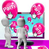 Party Balloons Represent Internet Parties and Invitations — Stock Photo