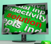 Solution Word Screen Cloud Shows Achievement Resolution Solving  — Stock Photo