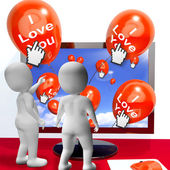 I Love You Balloons Represent Internet Greetings for Lovers — Foto de Stock
