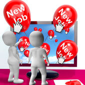 New Job Balloons Show Internet Congratulations for New Jobs — Stock Photo