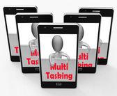 Multitasking Phone Means Doing  Multiple Tasks Simultaneously — Stock Photo