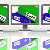 Dollar And Euros Folders Screen Show Global Currency Exchange — Stock Photo