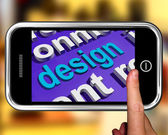 Design In Word Cloud Phone Shows Creative Artistic Designing — Stock Photo