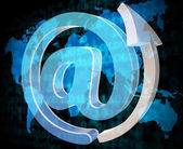 Email Sign Shows Send Message And Communicate — Stock Photo
