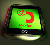 Voip On Phone Shows Voice Over Internet Protocol And Ip Telephon — Stockfoto