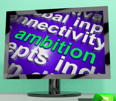 Ambition Word Cloud Screen Means Target Aim Or Goal — Stock Photo