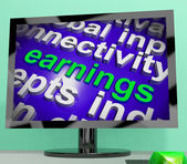 Earnings Screen Shows Wage Prosperity Career Revenue And Income — Stock Photo
