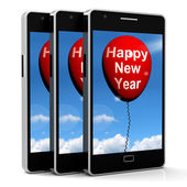 Happy New Year Balloon Shows Parties and Celebration — Stock Photo