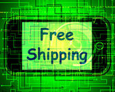 Free Shipping On Phone Shows No Charge Or Gratis Deliver — Stock Photo
