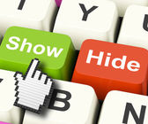 Show Hide Computer Keys Mean On Display And Out Of Sight — Stock Photo