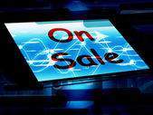 On Sale Screen Shows Promotional Savings Or Discounts — Foto de Stock