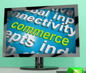 Commerce Word Cloud Screen Shows Commercial Activities — Stock Photo