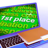 First Place Word Cloud Laptop Shows 1st Winner Reward And Succes — Stock Photo