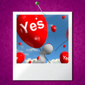 Yes Balloons Photo Means Certainty and Affirmative Approval — Stock Photo