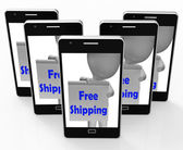 Free Shipping Sign Phone Means Product Shipped At No Cost — Stock Photo