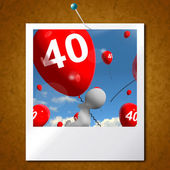 Number 40 Balloons Photo Shows Fortieth Happy Birthday Celebrati — Stock Photo