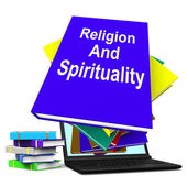 Religion And Spirituality Book Laptop Stack Shows Religious Spir — Stock Photo