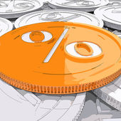 Percentage Coin Shows Interest  Earn And Owed — Stock Photo