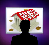 Sponsor On House Or Money Box Man Means Sponsoring Home — Stock Photo